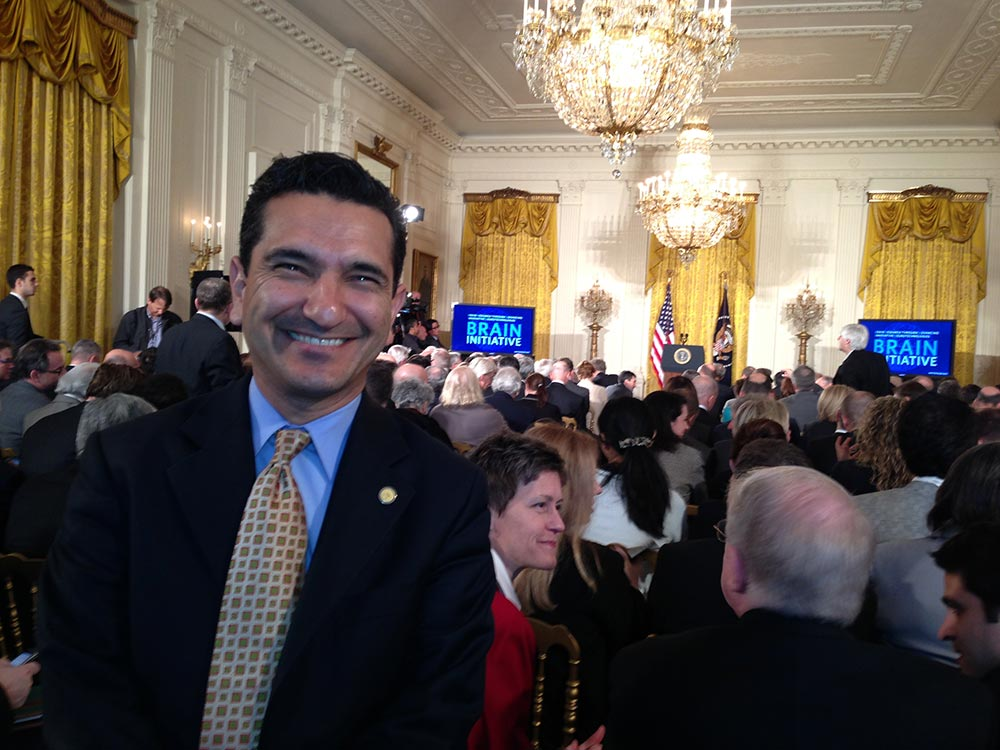 Babak Kateb at the White House for President Obama's announcement of BRAIN Initiative